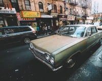 Old car in a city